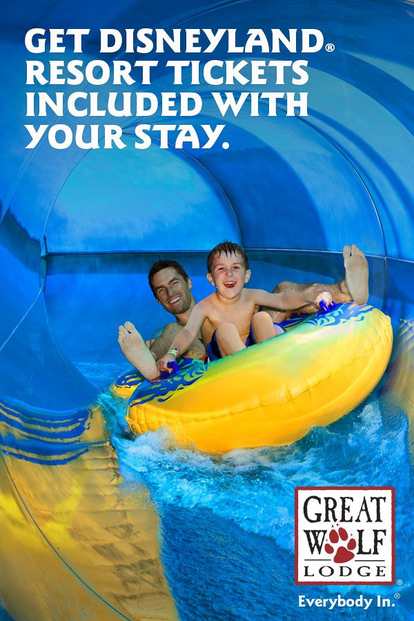 Double the fun, not the price. Stay at Great Wolf Lodge and get DISNEYLAND Resort tickets included with your stay. Our 84-degree indoor water park is waiting for you.
