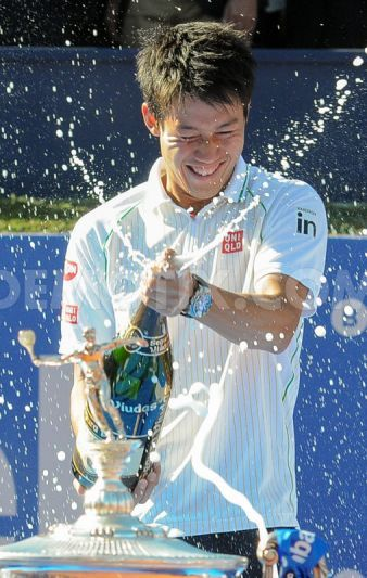 Kei Nishikori celebrating the single final at Barcelona Open 2014
