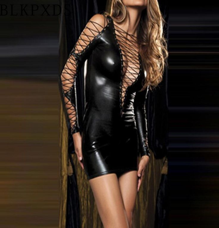 JOYINPARTY New Ladies Shiny Sexy Gothic Fetish Clubwear Deep-v Faux Leather PVC Catsuit Women Mini Dress Intimates Wholesale #Affiliate