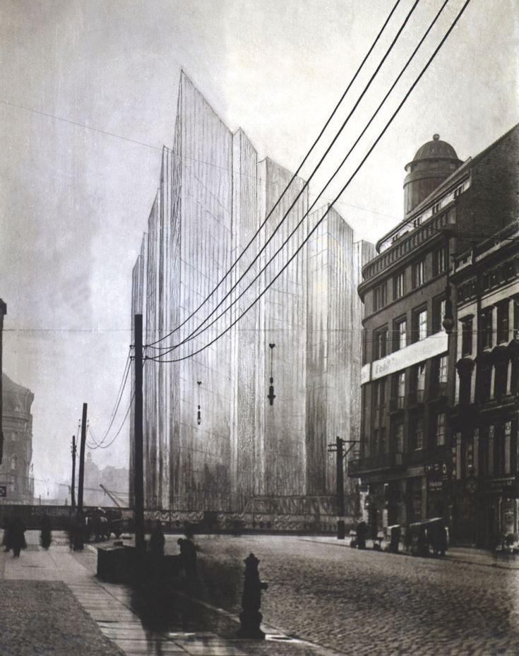 Mies van der Rohe, photomontage of Skyscraper project Friedrichstrasse, 1921-22, Berlin.