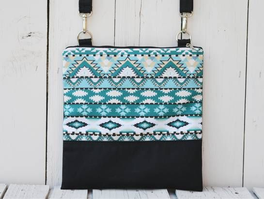 Black and Painted Aztec Canvas Pattern
