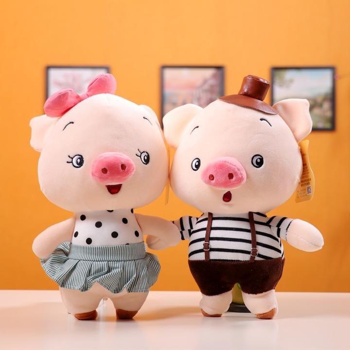 plush toy cartoon happy bow girl handsome hat boy pig couple piggy soft doll 1pc