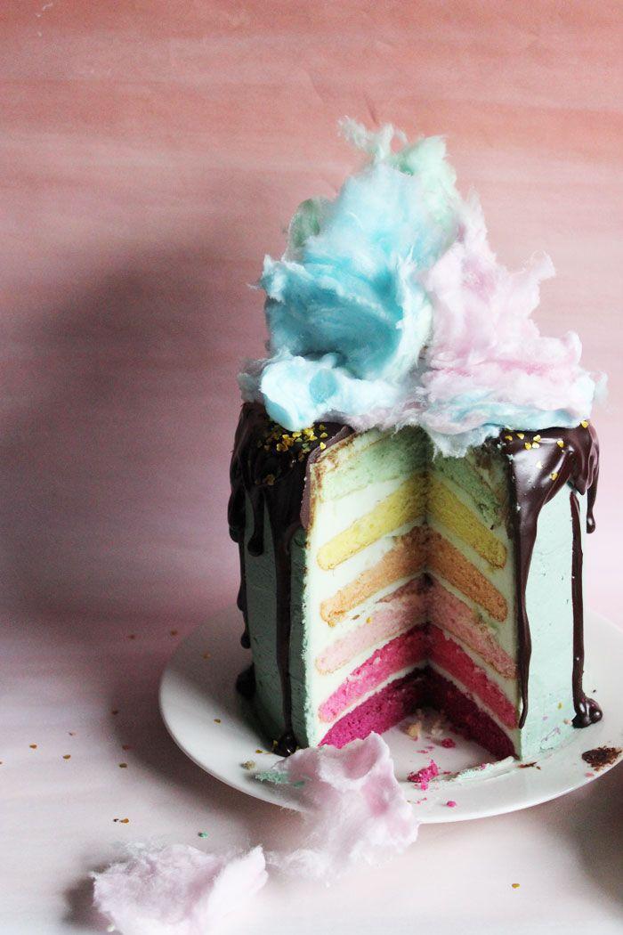Poppytalk: One Cake Two Ways | Donut + Cotton Candy Pastel Rainbow Cake!