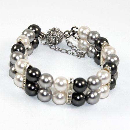 Penny - Swarovski Pearl and Rondelle Bracelet - Greys