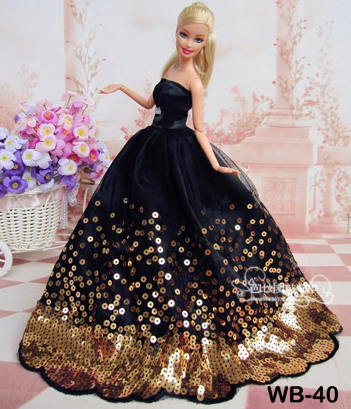 Vintage Wedding Dresses Bristol: Free Shipping Black Clothes Dress For Barbie Dolls-in