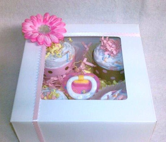 Diaper Cupcakes (4-pack), completely cute baby gift - FREE SHIPPING. $14.99, via Etsy.