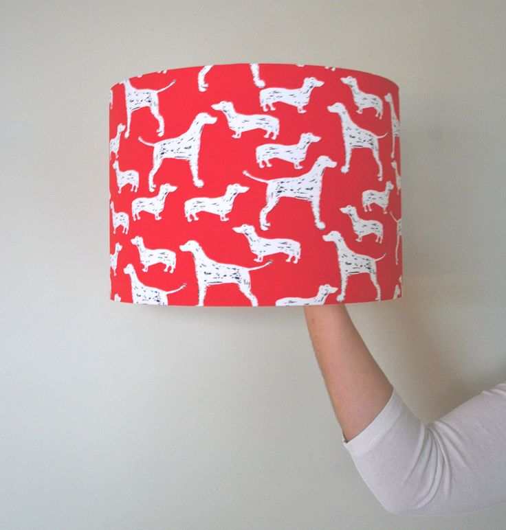 Dog Lover Gift | Dog Print Drum Lampshade | Hand Rolled | Red | Ceiling Shade | Christmas Present | Dachshund | Pointer by RukuLampshades on Etsy