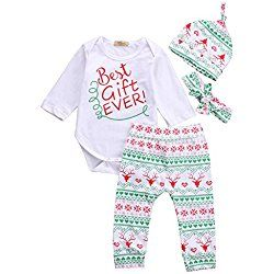 Baby Boys Girls Toddler 4pcs Christmas Set Bodysuits Leggings Headband Hat Outfits(3-6M)