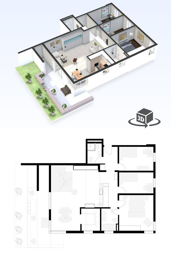 Pin by Floor Plans in Interactive 3D on Apartment  Condo Floor