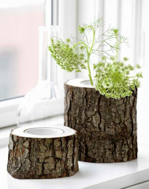 kreative ideen zum selbermachen vasen und blumenbeh lter aus baumst mpfen http wohnideenn. Black Bedroom Furniture Sets. Home Design Ideas