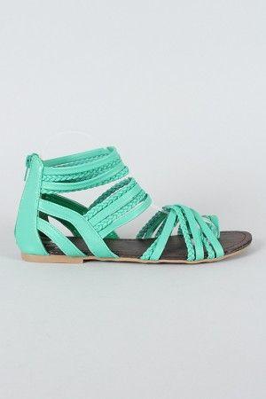 LOVE these!Braids Gladiators, Gladiators Sandals, Summer Sandals, Mint Green, Summer Shoes, Flat Sandals, Mint Sandals, Cheap Shoes, Flats Sandals
