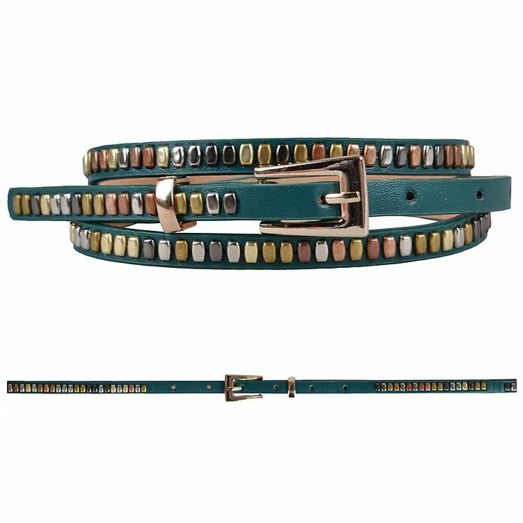 SKINNY BELT WITH STUDDED TRIM