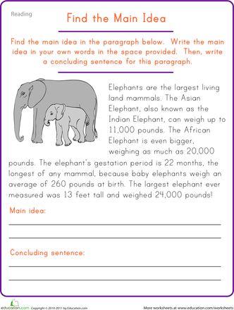 Find the Main Idea: Elephant | The Job | Pinterest | Teaching, Main ...