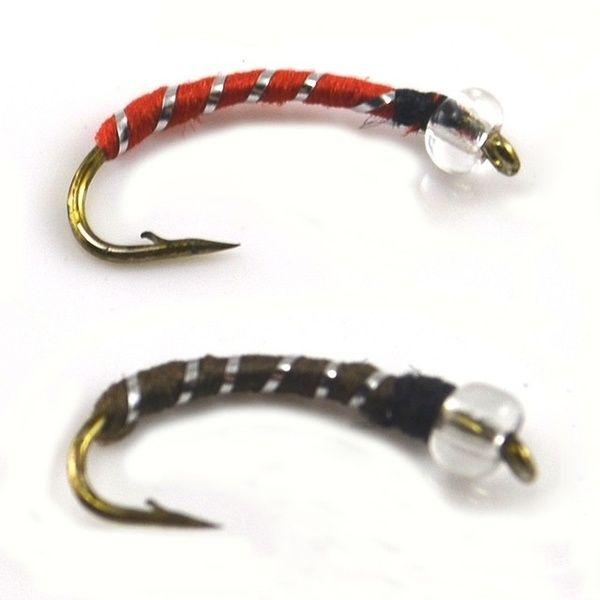 10PCS 12# Caddis Larva Chironomid Midge Pupa Buzzer Zebra Nymph Trout Flies