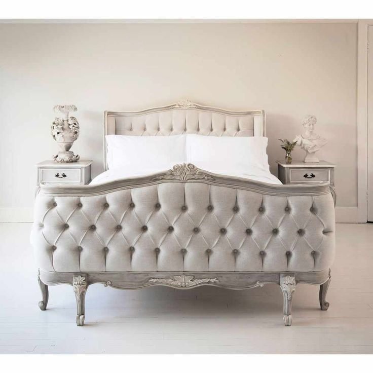 Lit D'Amour luxury pale grey bed - French Bedroom Beds