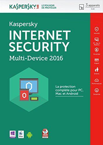 Kaspersky internet security 2016 (3 postes, 1 an): logiciel antivirus La protection complète pour PC, Mac et Android : Protège tous vos…