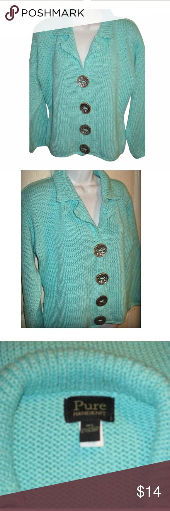 PURE Handknit Turquoise Cardigan SZ M/L This is stunning and I love this color!  Bust measures 48 inches and length is 23 inches  Material is 100% Cotton SIZE is M/L Pure Handknit Sweaters Cardigans