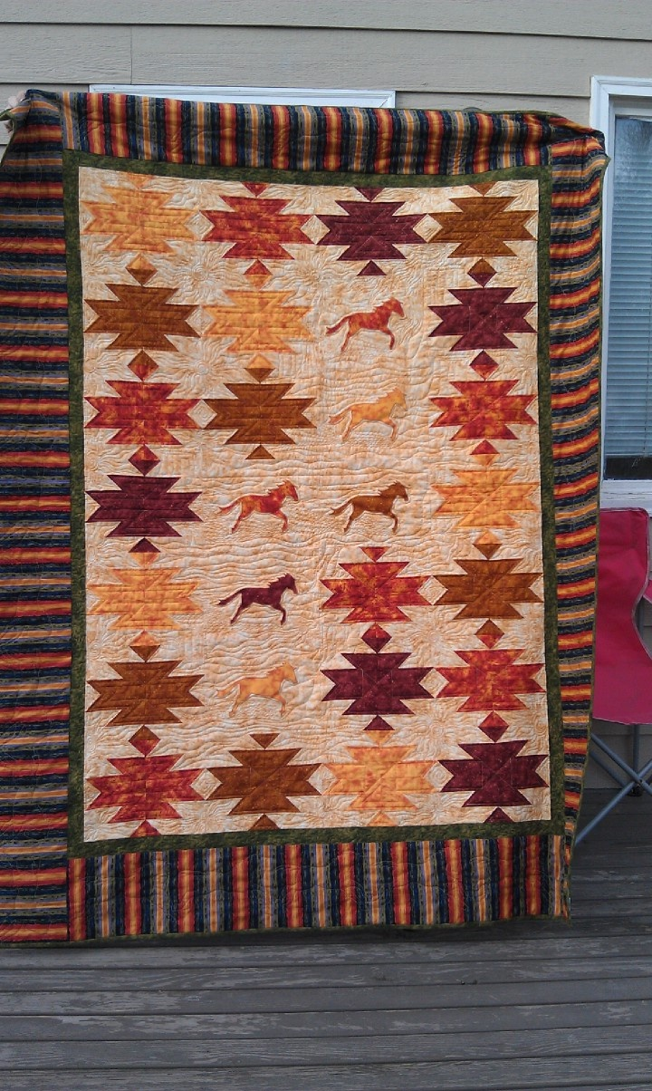 """Tristan's """"Mustang Quilt"""" completed in 2011."""
