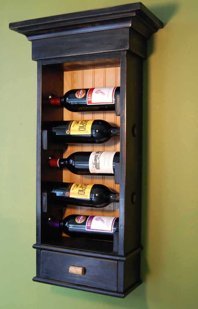 hanging wine rack with drawer holds 5 bottles of by Fountain33, $199.00