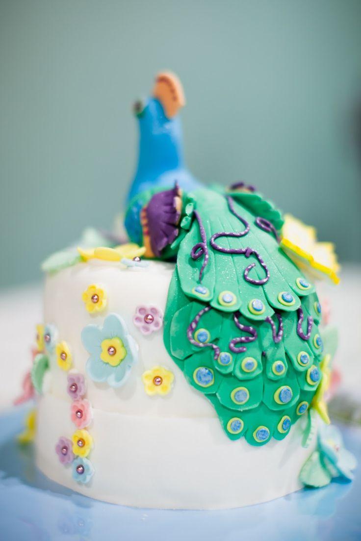 peacock cake topper | Cake: Egg-free vanilla custard pound cake with strawberry jam and ...