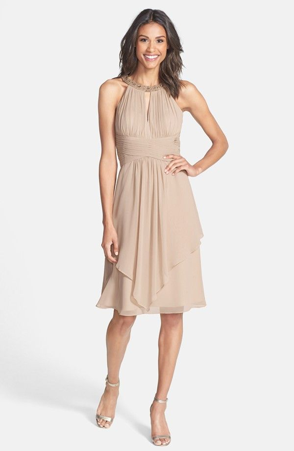 Neutral dress for a beach wedding for the mother of bride or mother the groom