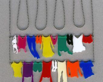 Halskette und Ohrringe set  Wäsche Aufhängen auf der