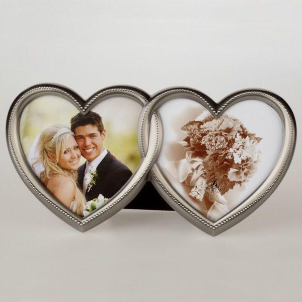 Srebrna ramka serca na 2 zdjęcia 10×10 cm | 28,00 PLN