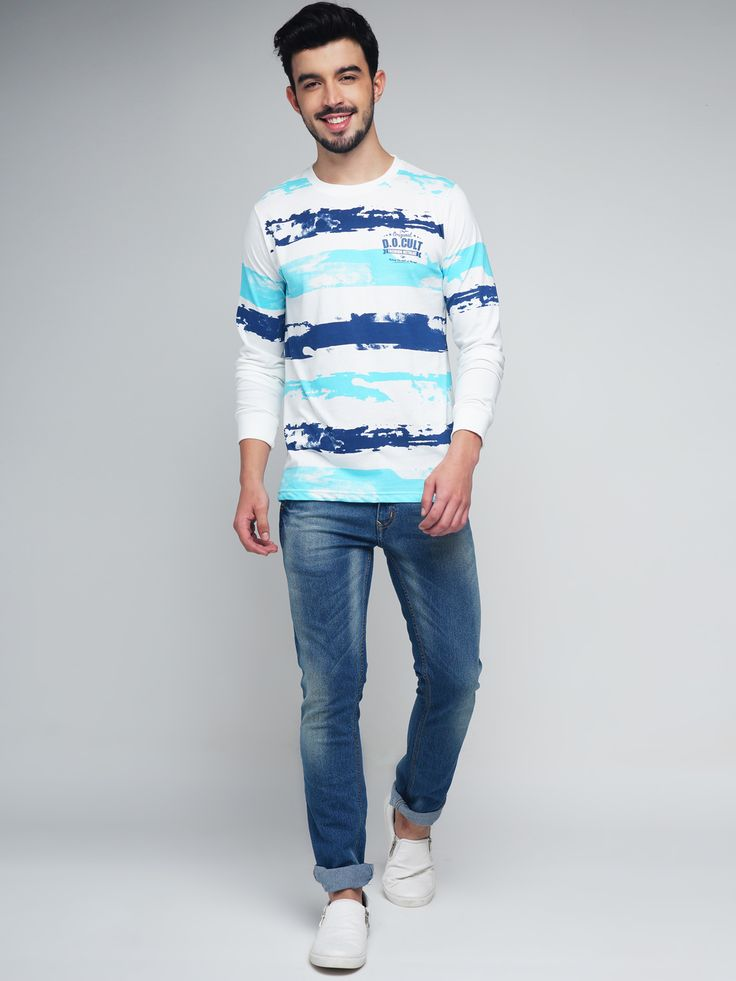 Difference of Opinion #Men #White & #Blue #Striped #RoundNeck #Tshirt #fashion #style