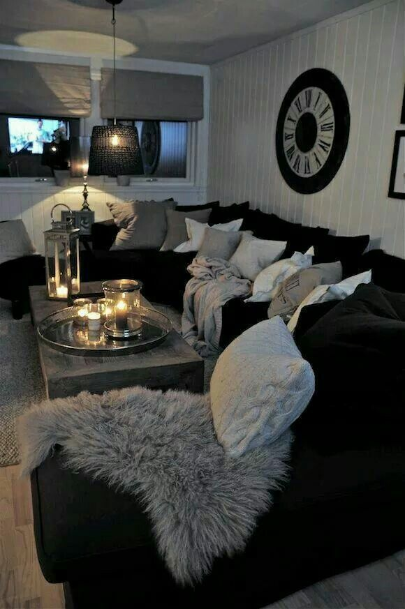Black Couches, Fluffy Pillows, Lit Candles, So Cozy Grey White And Black Living  Room Part 40