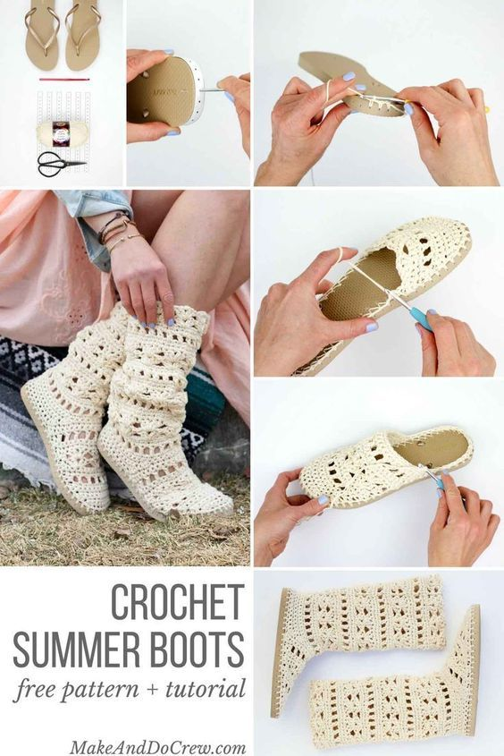 "These lacy, cotton ""Coachella Boots"" will complete your boho-inspired outfits all spring and summer long! Crochet them with flip flop soles!:"