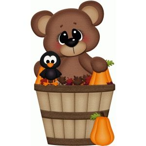 Silhouette Design Store: fall bear in basket w crow pnc