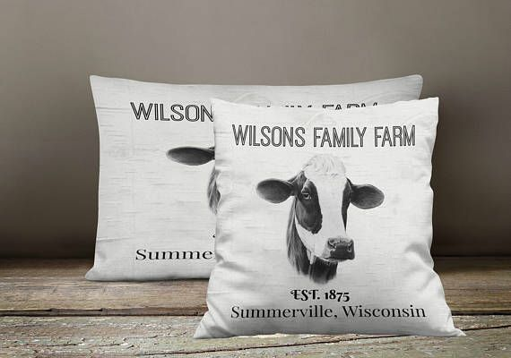 Personalized Custom Farm  Throw  Pillow, Rustic, Primitive  , Cow Catlle Farm