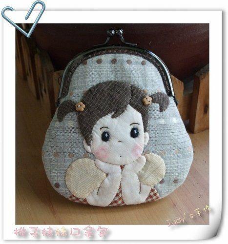Appliquéd cute girl frame purse