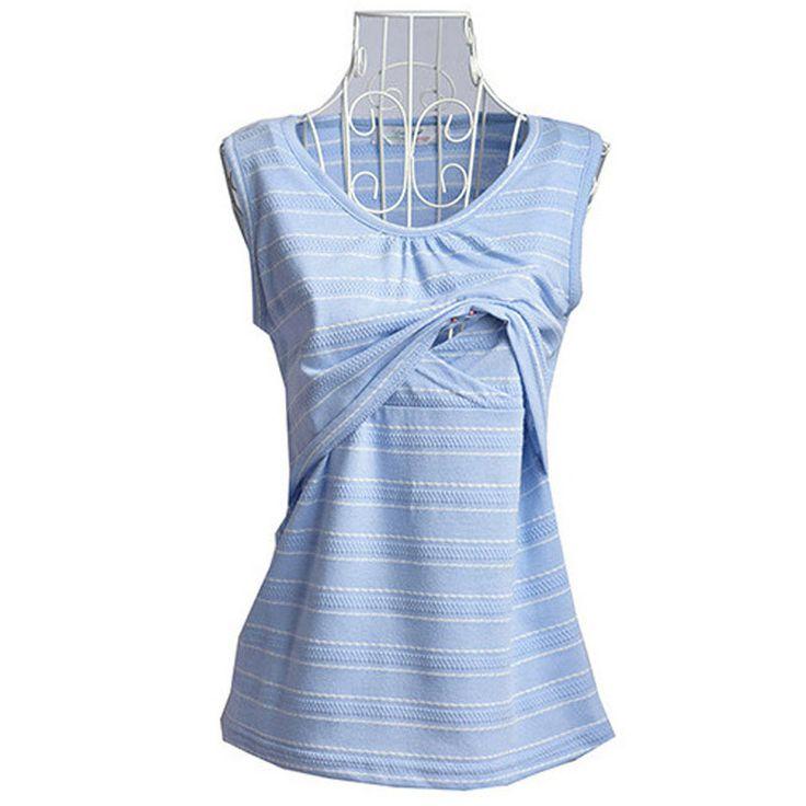 Nursing Maternity Top Feeding Clothes For Pregnant Women Striped Tee Sleeveless Pregnancy Breastfeeding Vest Tank Gravida Mom