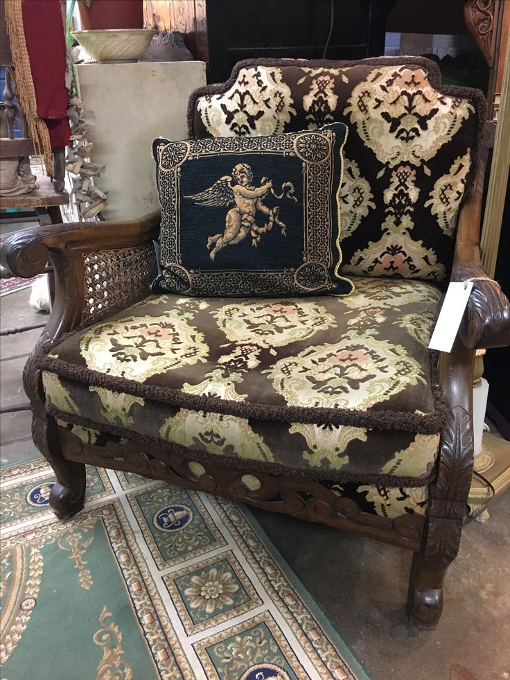 Ooh la la. A little French provincial flair.  Antique Louis VI style upholstered armchair with rattan back and sides. #halchemydesign #halchemy #antiques #oddities #vintage #rustichome #vintagehome #vintageinteriors #interiors #styling #design #inspiration #sydneyantiques #sydneyvintage #glebe #sydney