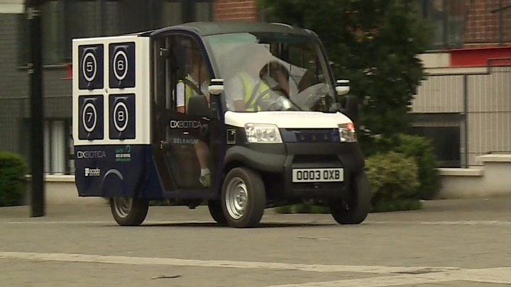Ocado demos driverless delivery van in London https://tmbw.news/ocado-demos-driverless-delivery-van-in-london  Media playback is unsupported on your deviceOcado has shown off a prototype driverless van designed to deliver goods at short distances.The vehicle, a cross between a small milk float and a large tuk-tuk, spent two weeks completing autonomous loops of a two-mile (3km) semi-pedestrianised area of Greenwich, south-east London.The electric CargoPod has a top speed of 25mph and can do…