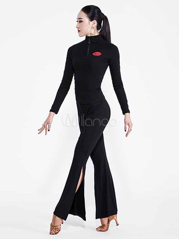 05e51d0b6 Latin Dance Outfit Black Women Long Sleeve Top And Pants Dancing Costume # Black, #