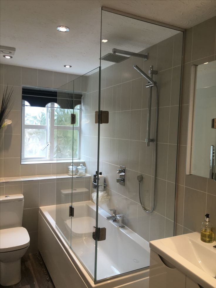 2 sided bath shower screen with fixed panel to end  Bath screen in 2019  Bath shower screens