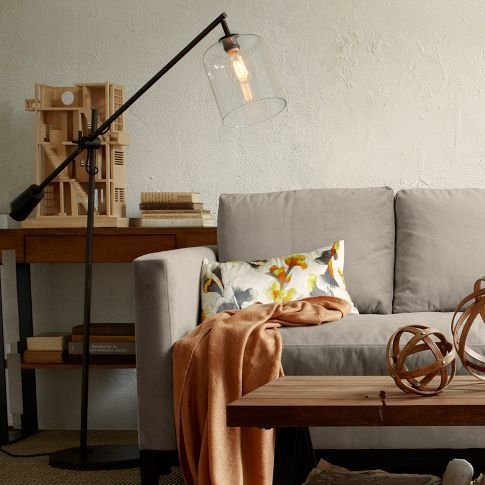 Adjustable Glass Floor Lamp | west elm $299 - I would knock this over and break the glass shade, but I still want it.