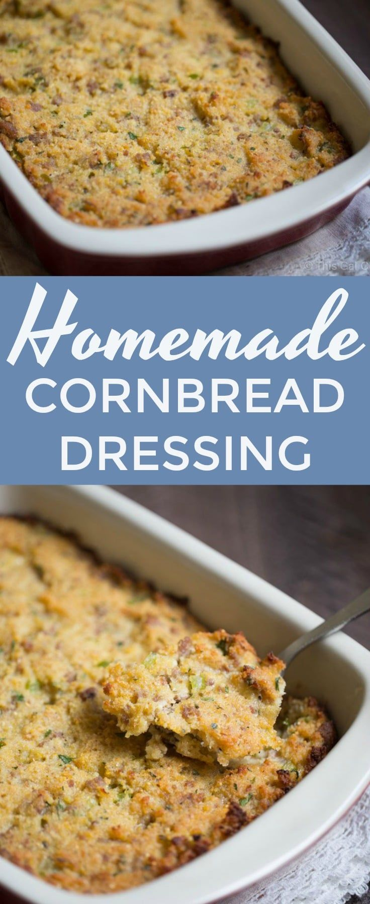 The best homemade cornbread dressing you'll ever try! Made with my homemade cast iron buttermilk cornbread, fresh herbs and sausage. #stuffing #dressing #savory #recipe #dinner #thanksgiving #christmas