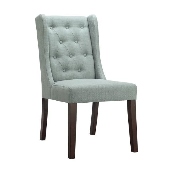 Blue Tufted Wingback Armless Dining Chair