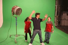 Selena Gomez and Lewis Parry filming on set, for Brain Zapped.