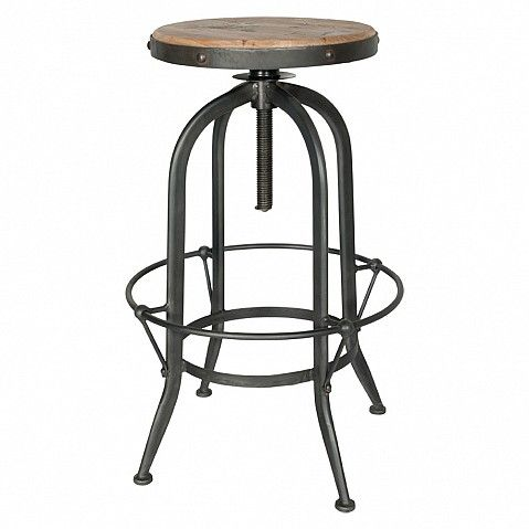 Industrial adjustable stool in elm with circular foot rest