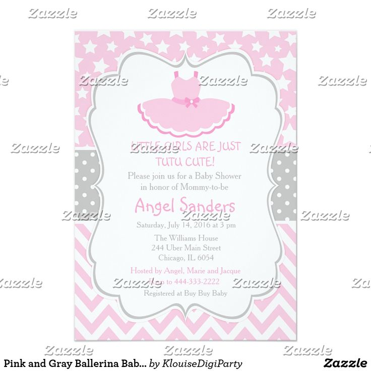 Pink and Gray Ballerina Baby Shower Card