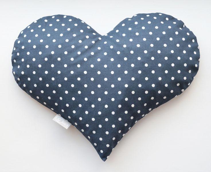 Kirschkernkissen Herz gepunktet blau weiß von Gisa's auf DaWanda.com