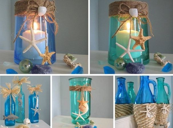 seashell jars and bottles