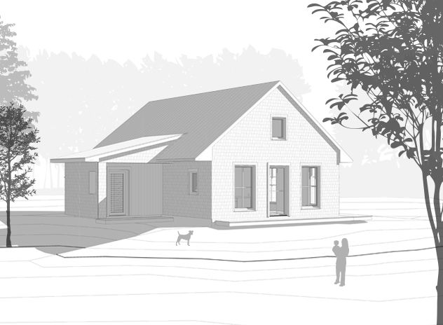 The 1,200 square foot prefab house plan offers energy-efficient single story living with a combined kitchen/living/dining space, two bedrooms and full bath.
