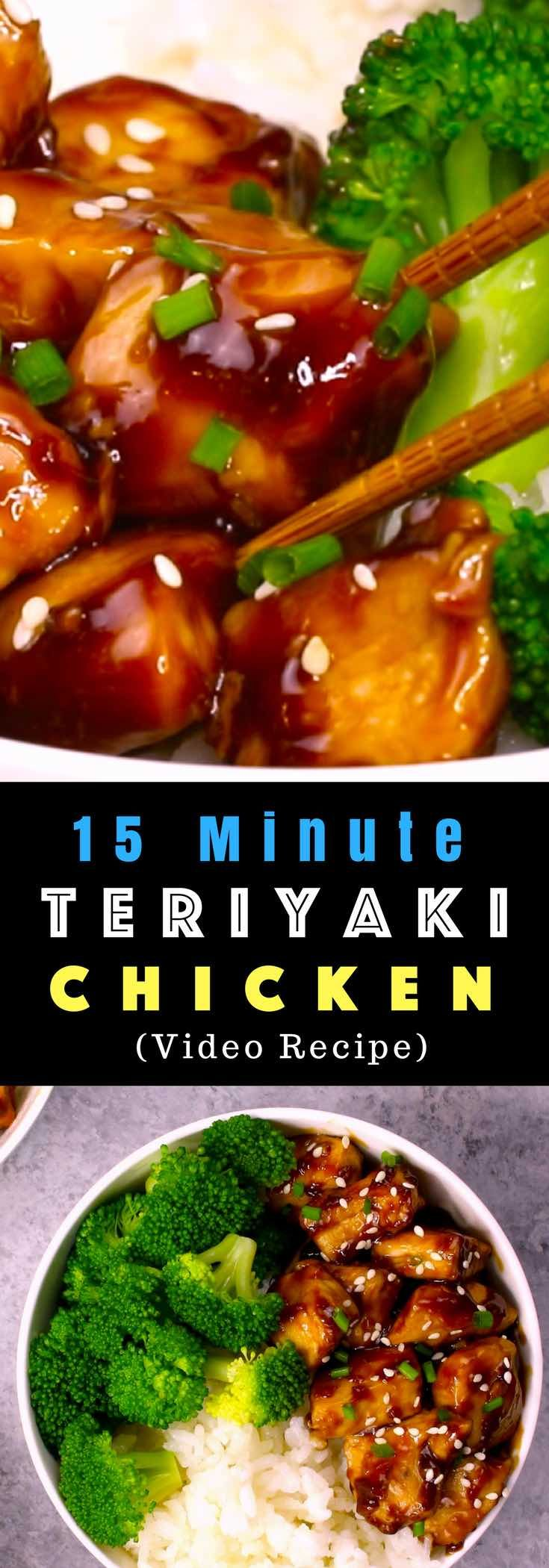 The easiest, most unbelievably delicious Teriyaki Chicken with Rice Bowls. And it'll be on your dinner table in just 15 minutes. It's much better than takeout! All you need is only a few ingredients: chicken breast, soy sauce, cider vinegar, honey and cornstarch. One of the best Asian dinner ideas! Served with rice and broccoli. Quick and easy dinner recipe. Video recipe.   Tipbuzz.com #Teriyaki #TeriyakiChicken #ChickenTeriyaki