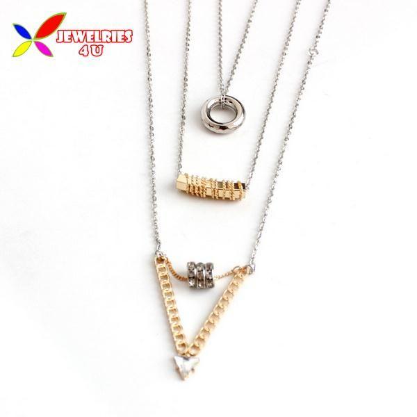 2014 зима стиль 3 слой стрелка дизайн ожерелье мода рок золотой кулон шарм серебряная цепочка колье ожерелье для женщин ювелирные изделия