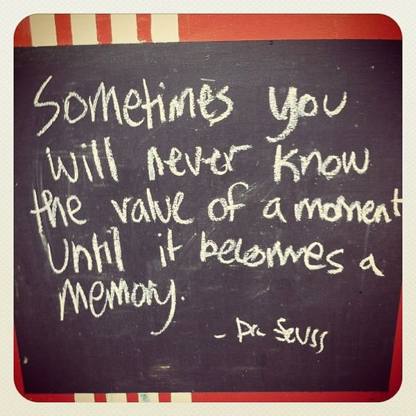 Sometimes you will never know the value of a moment until it becomes a memory.     - Dr. Suess      #FLVS #inspiration